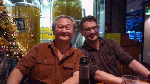 Had dinner and a drink with visiting US cartoonist Stan Sakai down at the James Squire Brewery in Darling Harbour. Stan and his wife Sharon are the loveliest people to chat with, had a great time albeit a brief one. Next time Stan, I will make sure you meet Ron Cobb!