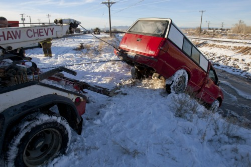 "Enough To Brake The Ice ""Apparently, he drove off the cliff because he was distracted…didn't brake or anything.""  Here's the rest: Truck Under Water"