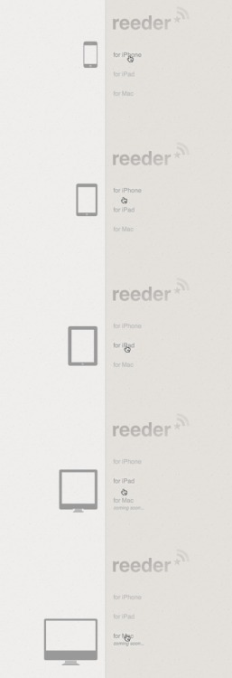 Reeder app - website makes use of some nice CSS3 transitions. /via @guigoguido