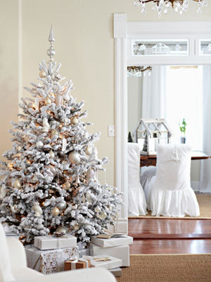 acottageinthewoods:  white Christmas interior via Midwest Living