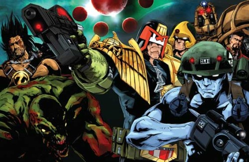 Borag Thungg, Earthlets!Judge Dredd Megazine 305 - on sale 8 December 2010 - will include a free postcard, one of two designs that will be randomly inserted into the issue. So you could either get Liam Sharp's scrotnig Necropolis pin-up, or Ben Willsher's zarjaz multi-character image.Also in this issue: a complete Xmas Dredd story by Al Ewing and Liam Sharp, the return of Insurrection by Dan Abnett and Colin MacNeil, the start of Samizdat Squad by Arthur Wyatt and Paul Marshall, the climax to Simon Fraser's Lilly Mackenzie, plus Liam Sharp is interviewed, there are reviews of Bryan Talbot's Grandville Mon Amour and John Hicklenton's 100 Months, and more. In the bagged graphic novel this month it's Strontium Dogs: Return of the Gronk by Garth Ennis and Nigel Dobbyn!Splundig vur Thrigg!