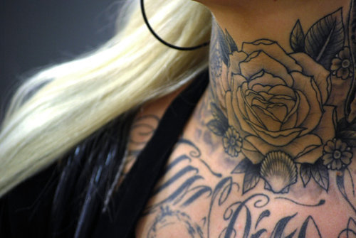 Neck Rose Tattoo