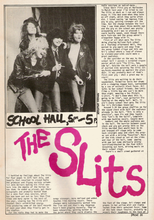 Great Slits live review from Zig Zag #80, January 1978. Part 1.