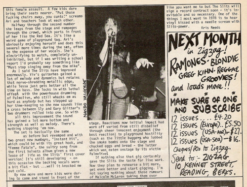 Slits live review by Kris Needs from Zig Zag #80, January 1978. Part 2.