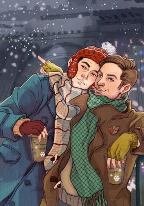 davidtennantsballsack:  Love this artist. Arthur and Eames - Christmas style.