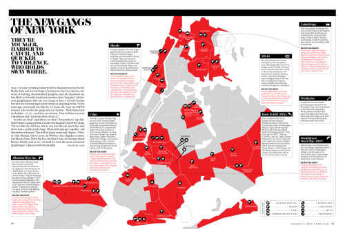 "utnereader:  laphamsquarterly:  Compare our map of the gangs of old New York, to New York Magazine's map of gang territories in New York today. ""A few years ago, you would see kids 19, 20 years old,"" says one NYPD veteran who works the gang beat in Harlem. ""Now these kids are babies—15, 14—and they are vicious. They will shoot you in a heartbeat and not think twice about it.""  Lapham's Quarterly excels at reframing issues outside of their historical context. Their piece on gang turf in 1800s New York City dovetails nicely with New York Magazine's piece on today's gangs."