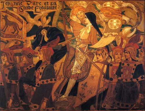 ladychevaliere:  John Duncan - Jeanne d'Arc avec ses gardes Ecossais 1896 (Joan of Arc With Her Scottish Guard) She heard the Everwhisper, and ran after her name.