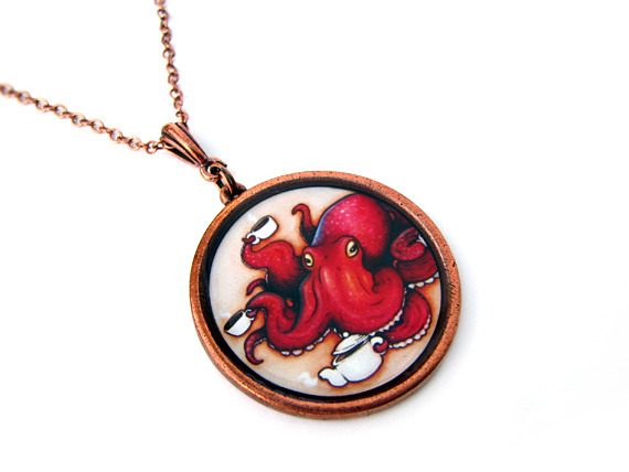 """Tentacle Tea Time"" wearable art pendant by Heather LeMay"