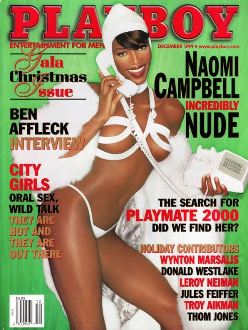 Get into the Christmas Spirit- Naomi Campbell for PlayBoy Magazine December 1999