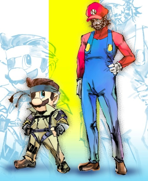 Mario and Snake cosplay crossover.