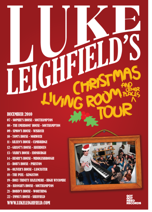 My Christmas living room tour kicks off in five days! The weather's not looking great but rest assured I'll be putting chains on the wheels and attaching a snow plow thing to the front of my car before I cancel any shows - the weather is no match for me. This is just a quick note to say that the following fine online publications have kindly written about the upcoming tour, and you can have a read if you like: Punktastic | Alter the Press | M-Magazine Also, the wonderful people at SoundCloud have started a Christmas group where you can hear lots of festive tracks including my very own I'm So Confused by Christmas. And finally, as mentioned yesterday on my blog, if you buy a LL CD or t-shirt from me before Christmas then I will send you a personalised handmade Christmas card, fashioned by my very own fingers. Read more about that here or place an order here. L8RZ.