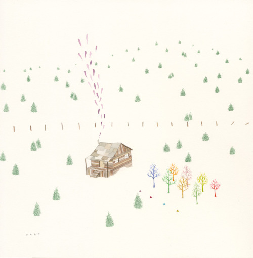 "'Elsewheres Tree Farm'  ink, graphite and Gouache on paper 9 1/2 x 9 1/2""   $550.00  Jay Dart"