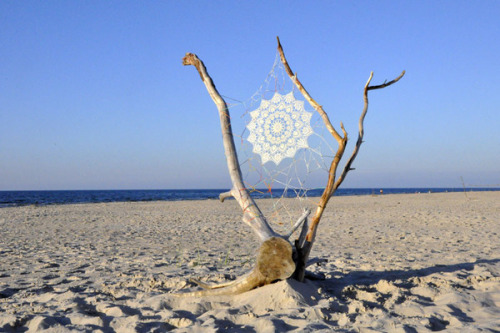 Crocheted lace art on the beach.  Oak Beach on the Behance Network