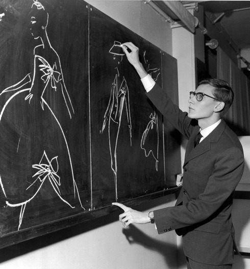 historiful:  Designer Yves Saint Laurent (1936-2008), date unknown.