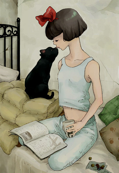 Teen Reading - Fan Art, Kiki's Delivery Service by Miyazaki