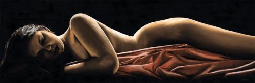 Reverie - Original oil painting produced on stretched 120cm x 40cm canvas using a knife, mixing only on the canvas using a limited colour palette. There's many more figurative, dance and portrait fine art original oil paintings, pastels and gicleé prints on my website: www.ryoung-art.com