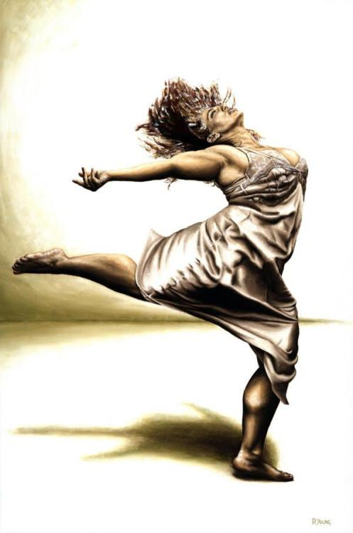 Rubinesque Dancer - Original oil painting produced on stretched 91cm x 61cm canvas using a knife, mixing only on the canvas using a limited colour palette. There's many more figurative, dance and portrait fine art original oil paintings, pastels and gicleé prints on my website: www.ryoung-art.com