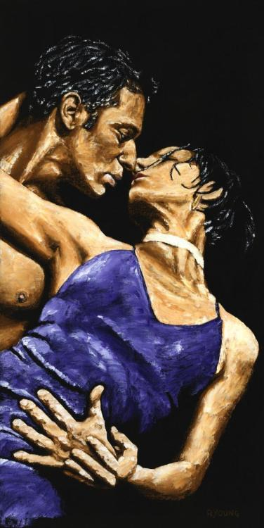 Tango Heat - Original oil painting produced on stretched 31cm x 61cm canvas using a knife, mixing only on the canvas using a limited colour palette. There's many more figurative, dance and portrait fine art original oil paintings, pastels and gicleé prints on my website: www.ryoung-art.com