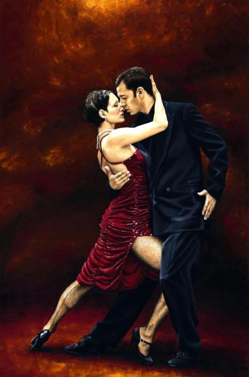 That Tango Moment - Original oil painting produced on stretched 91cm x 61cm canvas using a knife, mixing only on the canvas using a limited colour palette. There's many more figurative, dance and portrait fine art original oil paintings, pastels and gicleé prints on my website: www.ryoung-art.com