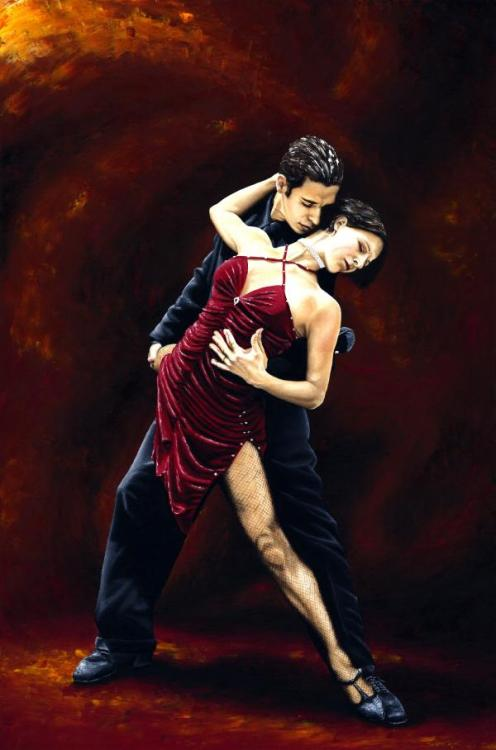The Passion of Tango - Original oil painting produced on stretched 91cm x 61cm canvas using a knife, mixing only on the canvas using a limited colour palette. There's many more figurative, dance and portrait fine art original oil paintings, pastels and gicleé prints on my website: www.ryoung-art.com