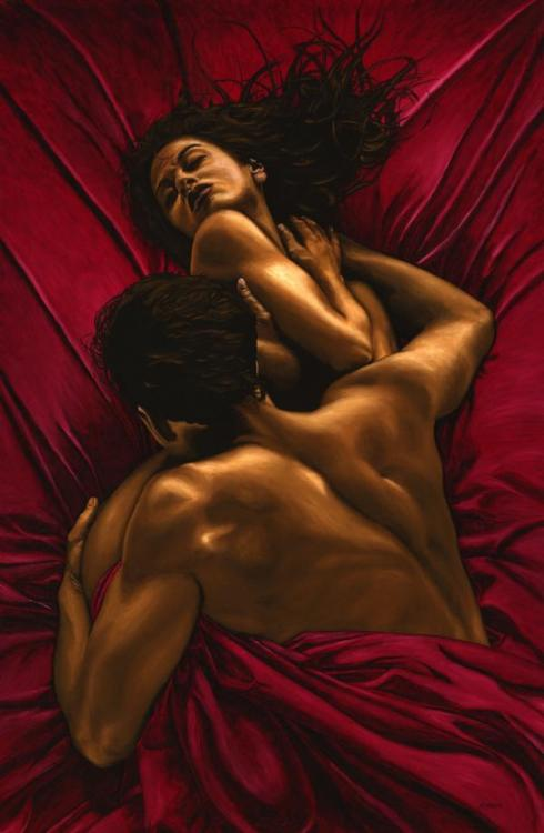 The Passion - Original oil painting produced on stretched 91cm x 61cm canvas using a knife, mixing only on the canvas using a limited colour palette. There's many more figurative, dance and portrait fine art original oil paintings, pastels and gicleé prints on my website: www.ryoung-art.com