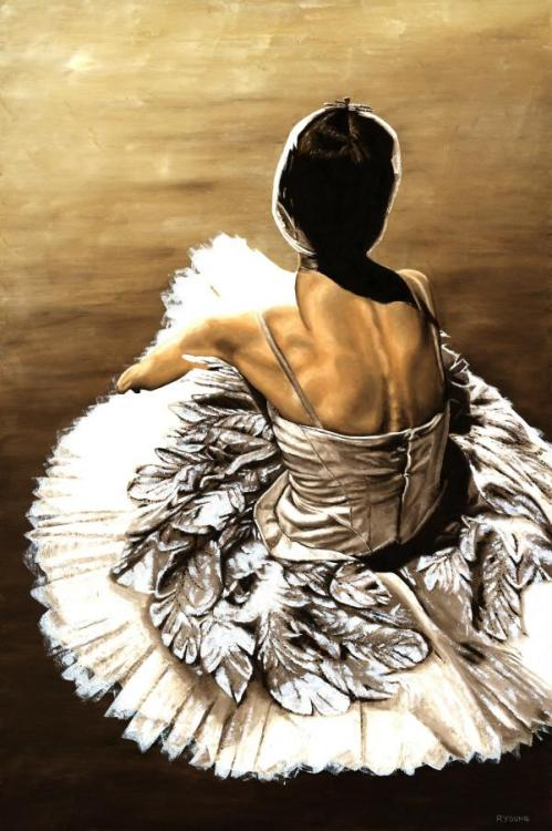 Waiting in the Wings - Original oil painting produced on stretched 91cm x 61cm canvas using a knife, mixing only on the canvas using a limited colour palette. There's many more figurative, dance and portrait fine art original oil paintings, pastels and gicleé prints on my website: www.ryoung-art.com