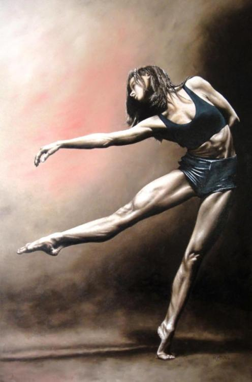 With Strength and Grace - Original oil painting produced on stretched 91cm x 61cm canvas using a knife, mixing only on the canvas using a limited colour palette. There's many more figurative, dance and portrait fine art original oil paintings, pastels and gicleé prints on my website: www.ryoung-art.com