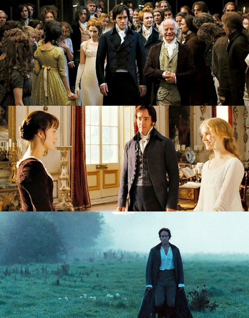 """His (Mr. Darcy) costume had a series of stages. The first time we see him he's at Meriton, where he has a very stiffly tailored jacket on, and he's quite contained and rigid. He stays in that rigid form for the first part of the film.  By the time we get to the proposal that goes wrong in the rain, we move to a similar cut, but a much softer fabric. And then later he's got a completely different cut of coat, not interlined, and he wears it undone.   The nth degree is him walking through the mist in the morning, completely undressed by 18th-century standards. It's absolutely unlikely, but then Lizzie's in her nightie, so what can you say?""  (Jacqueline Durran, Costume designer)"