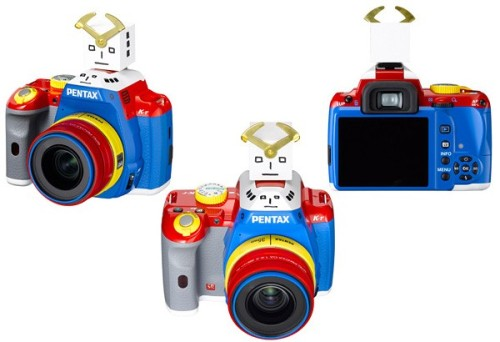 "Pentax K-r receives a rainbow paintjob, 35mm prime lens for limited edition kit It'd seem people were so enamored with the way the K-x got abused restyled that they wanted more of that Korejanai magic, and Pentax is kindly obliging them with a limited run of 100 ""robotized"" K-r sets. The internal specs are unchanged from the original, but you do get a new 35mm prime lens with a wide F2.4 aperture to play with. Pre-orders costing ¥99,800 ($1,187) will start on December 24th for a delivery in early January."
