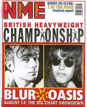 blur vs. oasis, on the cover of nme, 12 august 1995