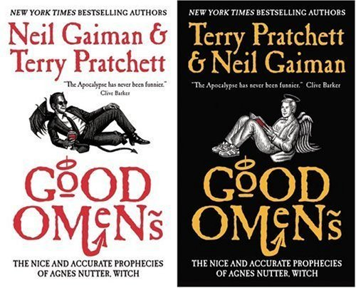 "Day 16: A picture of your favorite comedy book  Neil Gaiman & Terry Pratchett ""Good Omens""   ""A demon can get into real trouble, doing the right thing."" He nudged  the angel. ""Funny if we both got it wrong, eh? Funny if I did the good  thing and you did the bad one, eh?"" ""Not really,"" said Aziraphale."