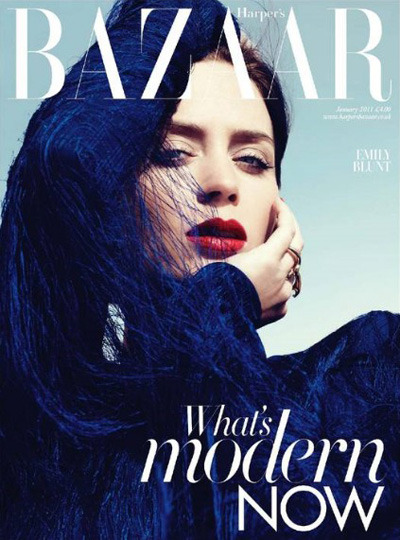 Love Harper's Bazaar's artsy covers of late.  This one's especially gorgeous. Emily Blunt is such a great actress, and always so chic. Emily Blunt in UK Harper's Bazaar December 2010