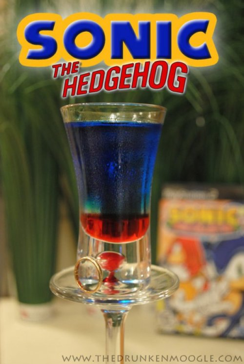 Sonic the Hedgehog (Sonic the Hedgehog shot) Ingredients:1 part grenadine2 parts Menthomint Schnapps4 parts Blue Curacao Directions: Pour in the grenadine first. Then layer the Mentholmint schnapps and Blue Curacao on top, in that order. Take it down faster than the Blue Blur himself.