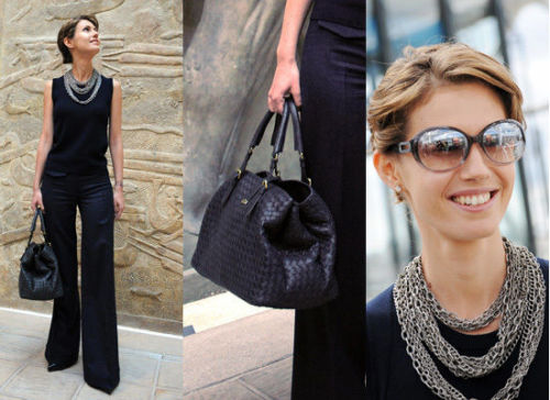 "muslimswearingthings:  ""Axis of Evil"" Syrian first lady Asma Al-Assad wears an axis of regal accessories."
