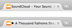 Soundcloud - Tab name changes as soon as you play a song