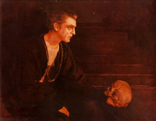 John Barrymore as Hamlet For the love of God, someone tell me who painted thiiisss.