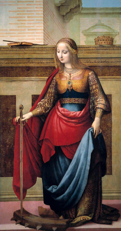zasu:  Saint Catherine of Alexandria (1505 - 1510) by Fernando Yáñez de la Almedina (Spanish, c. 1475 - 1536)  my confirmation saint! love her. Ticked off the emperor when she converted 200 of his soldiers.  Awesome.
