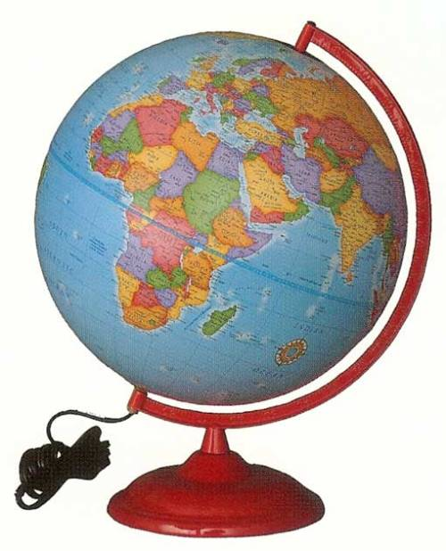 an illuminated globe can make for a great accent piece and nightlight in the nursery.  click pic