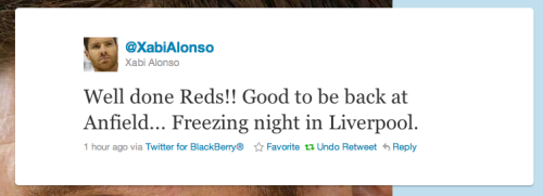 Is it a coincidence that Xabi was in Liverpool last night? It is said he joined up with Torres to celebrate Leo's birth.