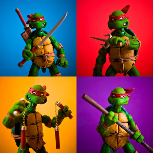 gamefreaksnz:  38/365 – Heroes in a Half-Shell! (by Photography)  It's the same figure but with different weapons… Proof: THE EYE MASK DOESN'T CHANGE COLOUR! Still very cool though. I'm guessing it's based on the look of the turtles from the comics?