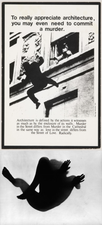 fette:  Top, Bernard Tschumi, Advertisements for Architecture, 1976-1977. Via. More. Bottom, photogram by Floris Neusüss, Untitled, (Körperfotogramm), Kassel, 1967. Via. — So I ask, in my writing, What is real? Because  unceasingly we are bombarded with pseudo-realities manufactured by very  sophisticated people using very sophisticated electronic mechanisms. I  do not distrust their motives; I distrust their power. They have a lot  of it. And it is an astonishing power: that of creating whole universes,  universes of the mind. I ought to know. I do the same thing. Philip K. Dick. Via. (If anyone has a date for this quote, I'd love to add it. Thanks.) Edit: How to Build a Universe That Doesn't Fall Apart Two Days Later, 1978. Thanks! Read the essay in its entirety.  oh wow. that quote and first image brings back memories from years ago. one day i will get over my intense fear of having others listen to the music i write and sing you the song about the time i was in love with an architect.