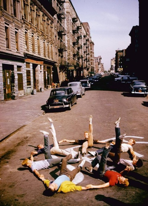 oldhollywood:  Assorted Jets rehearse on the set of West Side Story (1961, dir. Robert Wise & Jerome Robbins) (photo by Gjon Mili for LIFE, 1960)