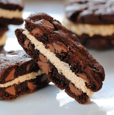 Double Chocolate-Espresso Sandwich Cookies with Peanut Butter Filling