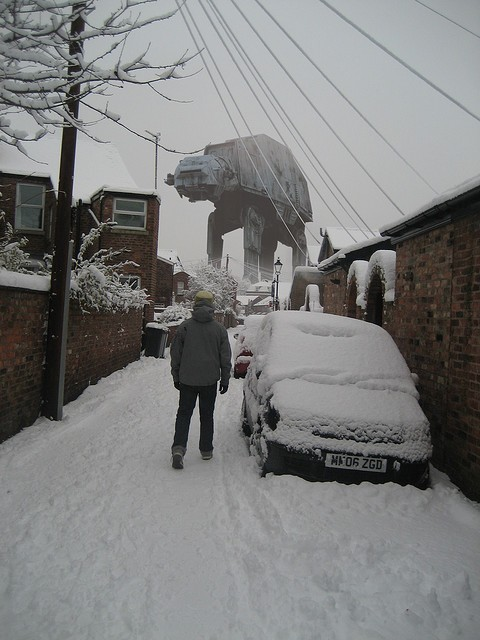 Upon first sight of this AT-AT I'd squeal with delight!  Then I'd run away in terror as it tried to blast me to bits.   dbsw:  Wampas aren't the only thing to fear during the snowy season. (via runtillyoushine)