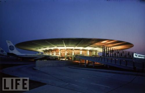 The PanAm Worldport, a terminal at JFK (built when it was still Idlewild, at the dawn of the jet age). Sadly, it's being demolished: The plan would entail the demolition of the smaller terminal, the PanAm Worldport, an architectural symbol of the 1960s jet age that has nevertheless been described as a blight on the airport by passengers and airline executives alike. Delta has long lamented the state of the Worldport, which it uses for many of its international flights, describing the space as unpleasant and unfit for its role as a gateway to the United States for international travelers. (via, indirectly via)