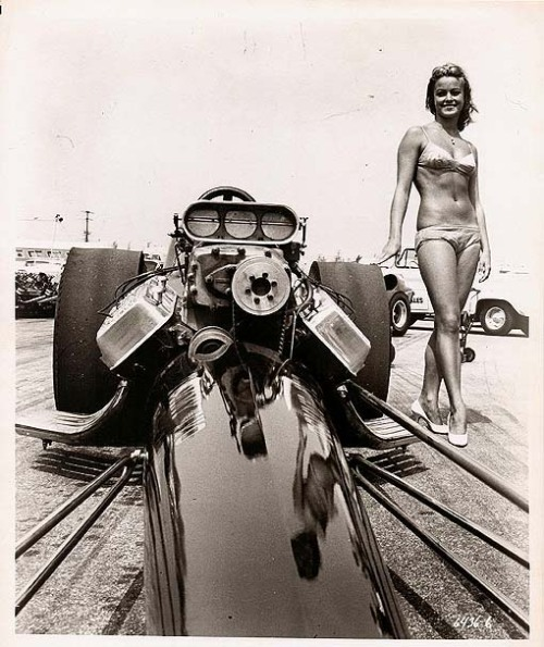 exitthedragon:  Patti Chandler, drag racer, Bikini Beach, 1964