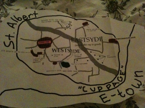 I gave my boy a tour of my city and he made me a map. Best ever.