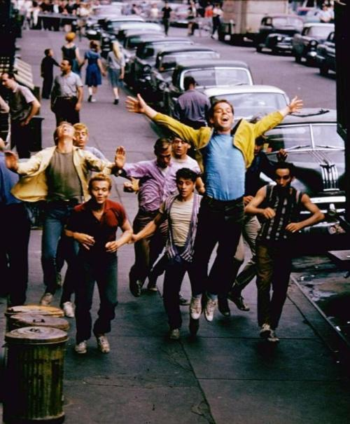 Russ Tamblyn & the Jets rehearse on the set of West Side Story (1961, dir. Robert Wise & Jerome Robbins) (photo by Gjon Mili for LIFE, 1960)