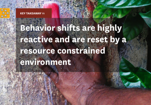 "Key Takeaway 11 is ""behavior shifts are highly reactive and are reset by a resource constrained environment."" Temporary stimuli such as disease force users to consider a holistic shift in sanitation practice only for the duration of the illness. Essentially, the sanitation and hygiene habits of households are an equilibrium caused by opposing forces. Behavior changes can be instigated, but not are sustained until seen as an absolute necessity. To illustrate, in slums, toilets are used under special circumstances in absence of which people revert to open defecation. People who are accustomed to open defecating may use the toilet only during rainy seasons when access to open fields becomes an issue. Many realize that continued use of a pit toilet will cause it to fill up more quickly which will be impossible/expensive to excavate. This knowledge and the realization that there are other alternatives to toilets makes it difficult to encourage individuals to use facilities even when they are available to them."