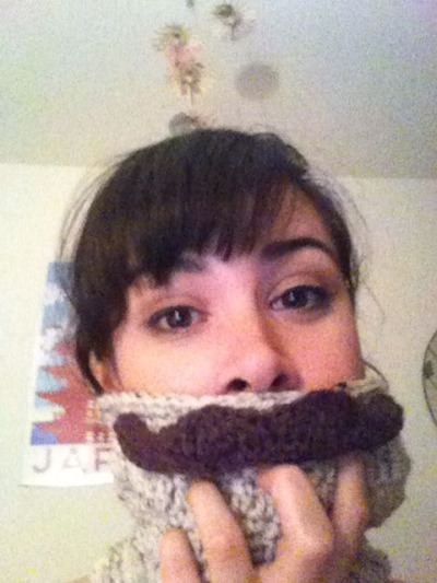 """I moustache you a question.""  This is my super swanky pre-Christmas gift: a moustache cowl."